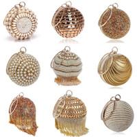 Wholesale ivory bridal clutches resale online - SEKUSA Ball Diamond Tassel Women Party Metal Crystal Clutches Evening Wedding Bag Bridal Shoulder Handbag Wristlets Clutch
