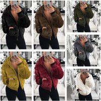 Wholesale girls long down jackets resale online - Women Coat Plush Fake Little Rabbit Fur Jacket Autumn Winter Outwear Cardigan Long Coats Winter Warm Jackets Zipper Hoodie High Quality