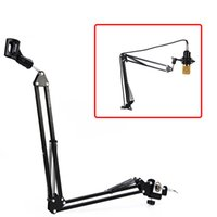 Wholesale boom clamp resale online - Extendable Recording Microphone Holder Suspension Boom Scissor Arm Stand Holder with Microphone Clip Table Mounting Clamp New