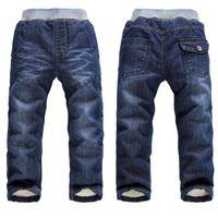 chicos otoño invierno jeans al por mayor-BibiCola Autumn Boys Jeans Pantalones Casual Toddler Boys Jeans Pantalones Niños Pantalones de invierno Espesar Algodón cálido largo