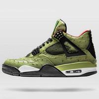toplar toptan satış-Nike Air Jordan 4 Travis Scott Kaktüs Jack Ayakkabı Cerrahı Gümrük Erkekler Basketbol Ayakkabıları Desinger 4 s Chaussures De Basket Topu Kutusu Ile Spor Eğitmeni