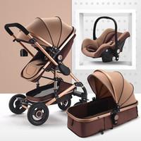 bebek arabaları puset toptan satış-Çok fonksiyonlu Bebek Arabası 3 in 1 katlanabilir arabası bebek buggy Hafif Taşınabilir Seyahat Pram puset