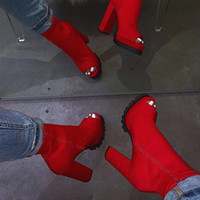 Wholesale black ankle boots thick heel for sale - Group buy Red Fashion New Boots Women Snake Pattern Zip Ankle Boots Autumn Woman Peep Toe Thick High Heels Ladies Platform Shoes Dropship