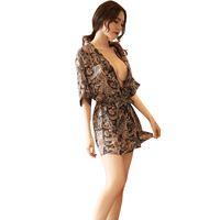 batas de lenceria impresas al por mayor-Mujeres Sexy Club Estilo Japonés Imprimir Kimono Yukata gasa Babydoll Lencería Cinturón Bata de baño Bata Ropa de dormir Albornoz