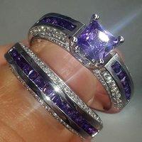boda púrpura del diamante fijada al por mayor-Moda corte princesa púrpura simulado Diamond CZ anillos establecer joyas 10KT oro blanco lleno de anillos de boda anillos conjuntos para mujeres cóctel
