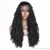 isıya dayanıklı saçlar kıvırcık toptan satış-Ücretsiz Nakliye 180% Yoğunluk Uzun Siyah Saç Sentetik Dantel Peruk Yumuşak Saç Isıya Dayanıklı Kıvırcık Fiber Saç Siyah Kadınlar için Dantel Ön Peruk