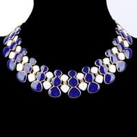 schwarze edelsteinkette großhandel-Edelstein aussage halskette collares rot schwarz blau weiß gold emaille maxi kette kragen choker halsketten für bijoux femme frauen kolye