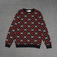 suéter de los hombres de color geométrico al por mayor-Suéter de moda Suéter para hombre diseñador de suéteres Manga larga Línea de puntos a cuadros rojos Patrón de impresión geométrica Prendas de punto Suéter de lujo Invierno