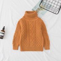 cuello alto de algodón para niños al por mayor-2018 nuevo otoño invierno de los niños de algodón suéter de punto suéter de la niña de la ropa del muchacho para niños 1-7 años de niño de cuello alto suéter