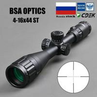 ingrosso fucile tattico illuminato-Bsa Optics 4-16x44 St Tactical Optic Sight Verde Rosso Illuminato Riflescope Caccia Rifle Scope Sniper Airsoft Air GunsT190724