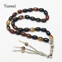 brazaletes musulmanes al por mayor-Yoowei Original Natural Agate Stone Tassel Bracelet 33 Oración Islámica Tasbih Musulmán de Granos de Semilla Musulmán Pulsera al por mayor