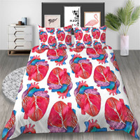 Wholesale queen hearts bedding king for sale - Group buy Heart Bedding Set Queen Size Creative Funny White Duvet Cover King Twin Full Single Double Comfortable Bed Cover with Pillowcase