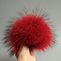 ingrosso accessori reali-50 pz / lotto 15 cm Real Raccoon Fur Ball con bottone a scatto accessorio cappello fai da te
