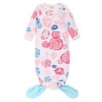 детское спальное меховое одеяло оптовых-Мультфильм Русалка шаблон цветочный принт мальчиков и девочек спальный мешок с длинным рукавом новорожденных кондиционер одеяло осень-весна использование