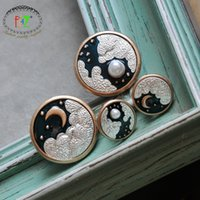 Wholesale starry sky necklace resale online - F J4Z Cute Women Pins Enamel Starry Sky Brooches Earrings Full Crescent moon Female Pins Accessories Stud Earrings Dropship