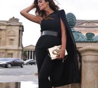 blazer noir blanc achat en gros de-2019 Nouvelle Soirée D'été Femmes Celebrity Piste Combinaisons Une Épaule Blanc Noir Batwing Manches Barboteuse Combinaison Sexy Bodycon