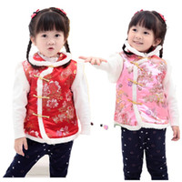 ko groihandel-Kinder Jacke Chinese New Year Baby Qipao Vest Kleidung Frühlingsurlaub Kinder Mantel Blumen Outfits Outwear Mädchen Weste Top
