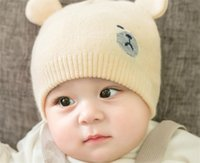 1d0760f05d0 2018 Hot sale Korean version of the new knitted children s cap for autumn and  winter cute cartoon bear ear wool baby cap