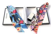 moda tasarlanmış hediye poşetleri toptan satış-Tasarımcı 100% Ipek Bandı saç bantları çanta eşarp Kadınlar için Moda Lüks Çiçek Tasarım bantlar Saç Bantları Headwraps Hediye En İyi Kalite