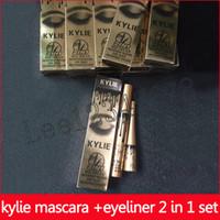 eye-liner longue durée achat en gros de-Mascara eye-liner kylie 2 en 1 mascara épais et magique Magic Black Mascara Black Eye crèmes cils longue durée Set eyeliner liquide