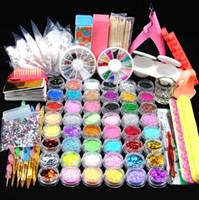 manicure gel de glitter venda por atacado-48 Acrílico Em Pó Glitter Em Pó Manicure Kit Unhas Gel Polonês Decoração Prego DIY Falsa Ponta Do Prego Gel conjunto de Ferramentas Pincel Para Iniciante