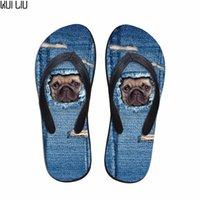 zapatillas personalizadas al por mayor-Chanclas de mujer ocasionales personalizadas Cute Denim Pug Dog Cat Pattern Summer Beach Zapatillas para damas Sandalias de goma para mujer