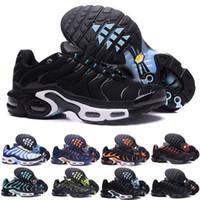 ingrosso scarpe da corsa spediti velocemente-Trasporto veloce 2018 UOMINI di alta qualità Air TN RunnING Shoes CESTINO DI CUCCHIA REQUIN respirabile CAVALLI DI MESH HoMMe noir Zapatillaes TN Scarpe
