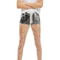 ingrosso pantaloni lunghi sciolti-2017 modo caldo trasparenti pantaloni Donne Pantaloni a vita alta gamba larga impermeabile in PVC di plastica allentato pantaloni lunghi Y1891705