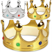 ingrosso re cosplay-King Crown Plastic Gold Argento Colore Cosplay Luxury Holloween Caps Compleanno Principessa Regali per feste Cappelli Hot Sale2 8wpE1