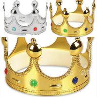 doğum günü tacı renkleri toptan satış-Kral Taç Plastik Altın Gümüş Renk Cosplay Lüks Holloween Kapaklar Doğum Günü Prenses Parti Hediyeleri Şapka Sıcak Sale2 8wpE1