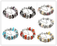 Wholesale pandora tibetan silver resale online - PDR series Tibetan silver Beads Bracelet Pandora Charms Glass Beads DIY Beaded Strands Bracelet colors newest