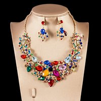 Wholesale jewery necklace resale online - dubai jewery set for engagement necklace and earrings six colors