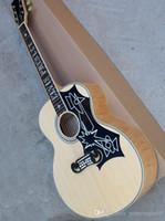 guitarra acústica pickguard al por mayor-6 cuerdas, guitarra acústica Elvis Style 43 '' con golpeador negro, escala de palisandro, chapa de color beige llama, que ofrece servicios personalizados