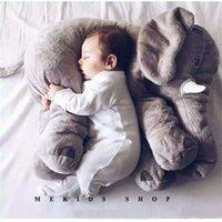 travesseiros recém-nascidos venda por atacado-40 cm Plush Elephant Toy Bebê Dormir Voltar Almofada Macia animais de pelúcia Travesseiro Elefante Boneca Recém-Nascido Playmate Boneca Crianças brinquedos