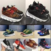topuk spor ayakkabıları toptan satış-2018 Zincir Reaksiyonu Sneakers Erkeklerde alt topuklu Lüks Tasarımcı Ayakkabı Kadın Dişiler Spor Eğitmenler Rahat Moda Ayakkabı ile Toz ...
