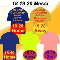 shirt jersey messi achat en gros de-19 20 Barcelone MESSI SUAREZ Domicile Extérieur Maillots de Football pour Hommes 18 19 PIQUE COUTINHO DEMBELE 3ème Maillot de foot RAKITIC DE JONG Uniformes Manches Courtes