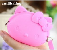 Wholesale silicone clutches resale online - New HelloKitty Silicone Coin Bag yey E