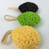bad schwämme zubehör großhandel-Gute Qualität Honeycomb Bath Ball Mesh Bürsten Schwämme Bad-Accessoires Body Wisp Naturschwamm Dry Brush Peeling Reinigung Applikator
