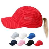 Wholesale buns ponytails resale online - adult Ponytail Baseball Cap Snapback Summer Hollow Mesh Hats Trucker Caps Women Messy Bun Hip Hop Hats LJJK1393