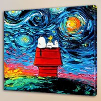 Wholesale Snoopy Art Canvas Home Decor HD Printed Modern Art Painting on Canvas Unframed Framed