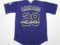 personalize jérseis de beisebol roxo venda por atacado-Cheap Custom Nolan Arenado #28 Cool Base jerseys Purple Stitched Retro Mens jerseys Customize any name number baseball jersey XS-5XL
