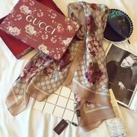 lenços longos venda por atacado-Lenço de seda Designer de marca cachecol carta das senhoras macio super longo lenço de luxo xale moda primavera impressa lenços.