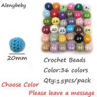 ingrosso giocattoli a uncinetto-15pcs 20mm di legno naturale Crochet Beads masticabili dente di cura Beads dentizione collana bambino Teether Giocattoli fai da te Baby Shower Gifts