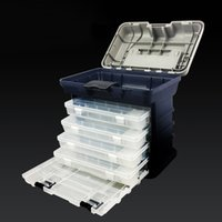 gros poisson achat en gros de-Grande boîte de pêche portable 5 couches poignée en plastique grande boîte de pêche outil de bateau de mer accessoire 26 * 26 * 17 cm