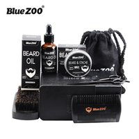 Wholesale small wax bags for sale - Black Bluezoo Beard Set Beard Oil Beard Wax Double Side Comb Brush Bag Small Scissors Piece Set