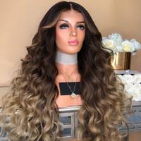 pelucas de precio al por mayor-Precio de fábrica 1 unid Moda Mujer Lady Brown Girl Gradient Natural Larga Llena de pelo rizado Pelucas de moda Cosplay Jan8