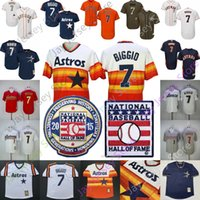 Wholesale cool pullovers for sale - Group buy Craig Biggio Jersey Houston Cooperstown Astros Baseball Hall Of Fame HOF Rainbow Pullover Button Flexbase Cool Base Women Youth Kid