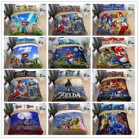 fronhas anime venda por atacado-3D Super Mario Bros Anime Sonic Capa de Edredão Fronha Conjunto de Lençóis