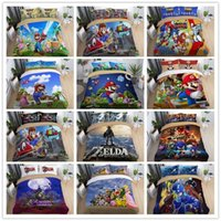 Wholesale anime bedding resale online - 3D Super Mario Bros Anime Sonic Duvet Cover Pillowcase Cover Bedding Set
