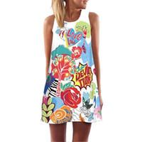 Wholesale owl dress blue online - Sexy Sleeveless Summer Women Dress Female Loose Ladies Club Party Dresses New Clothing Casual Owl Print Beach Dress